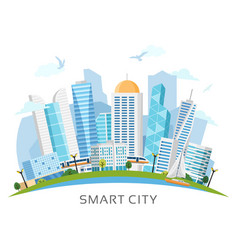 River side smart city arch landscape vector