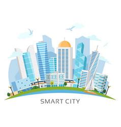 river side smart city arch landscape vector image