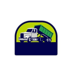 Roll-off truck side up half circle retro vector
