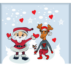 santa cartoon with funny santa claus and vector image