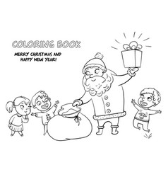 Santa claus brings gifts to children vector