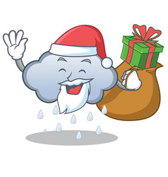 santa with gift rain cloud character cartoon vector image