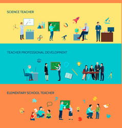School teacher flat banners set vector