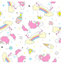 seamless cute unicorn pattern vector image