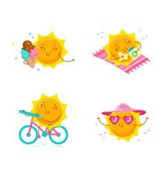 set cute cartoon sun characters kawaii vector image