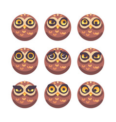 set of funny owl faces with different expressions vector image