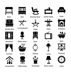 Set of interior and decoration glyph icons 5 vector