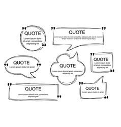 Set of scribbled comic speech bubbles vector