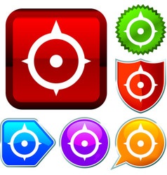 Set shiny icon series on buttons compass vector