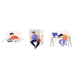 set tired sleepy people office workers tired vector image