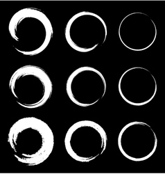 set white grunge circle stains vector image