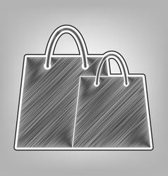 Shopping bags sign pencil sketch vector