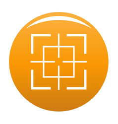 Square target icon orange vector