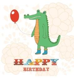 Stylish Happy birthday card with cute crocodile vector image