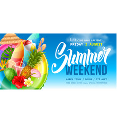 Summer weekend party flyer template vector