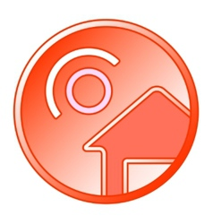 Sun and home round icon vector