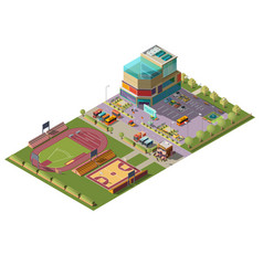 Supermarket and sport stadiums isometric vector
