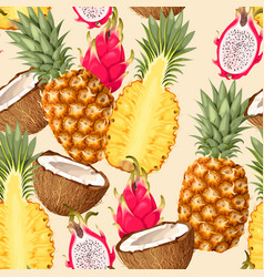 Tropic fruits seamless vector