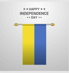 ukraine independence day hanging flag background vector image