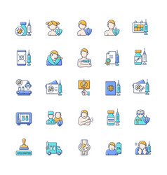 Vaccination and covid19 passport rgb color icons vector