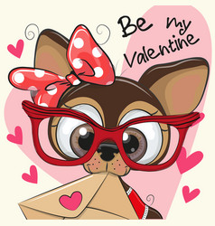Valentine card with cute cartoon puppy vector