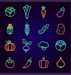 vegetable neon icons vector image