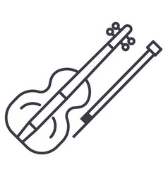 violin line icon sign on vector image