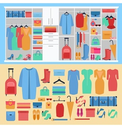 Wardrobe with Womens Clothing and Shoes vector image