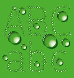 Water Drop Letters On Green New 01 vector image