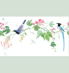watercolor floral horizontal pattern with blue vector image