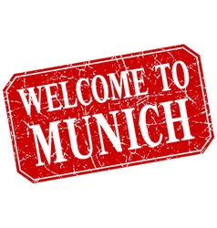 Welcome to Munich red square grunge stamp vector