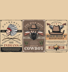 Wild west sheriff cowboy and indian chief vector