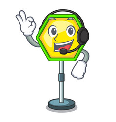 With headphone traffic sign isolated on the mascot vector