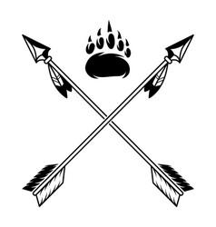 Wooden vintage indian arrows across vector