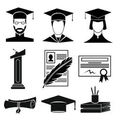 Graduation icons set vector image