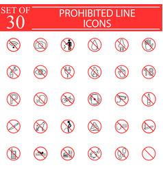 prohibited signs line icon set forbidden symbols vector image vector image