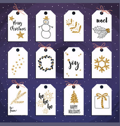christmas gift tags set with gold glitter vector image
