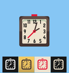 clock icon flat on colored vector image vector image