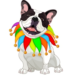 French bulldog wearing a colorful collar vector image vector image