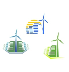 Houses with wind turbines vector image vector image