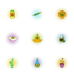 Marijuana icons set pop-art style vector