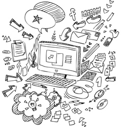 Pc and office objects vector image vector image