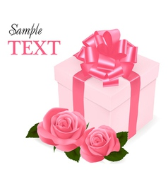 pink roses and gift box vector image vector image