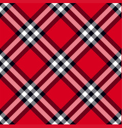 Scottish plaid in red black white vector