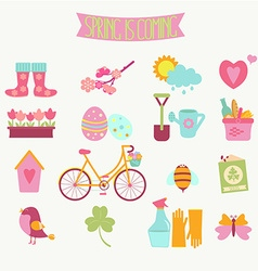 set of 16 flat colorful spring icons vector image