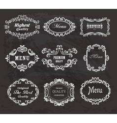 Set of vintage frames on the chalkboard vector image