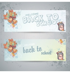 Set with two horizontal banners with a school vector image vector image
