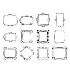 vintage doodle picture frames hand drawn vector image