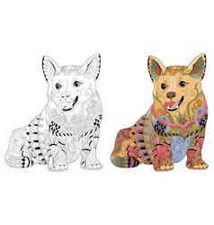 zentangle stylized dog hand drawn decorative vector image