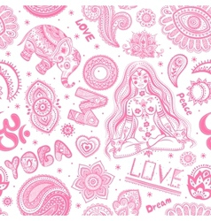 Beautifull seamless yoga pattern with ornaments vector image vector image